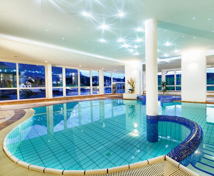 Indoor pool area at Hotel Alpenflora in Castelrotto, South Tyrol